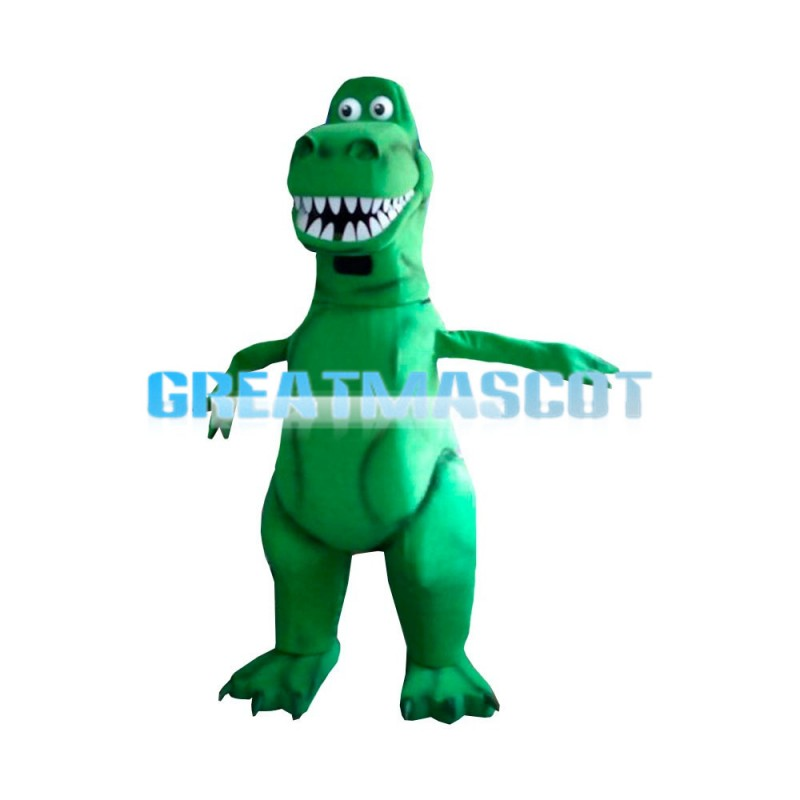 Green Dinosaur With Sharp Tooth Mascot Costume