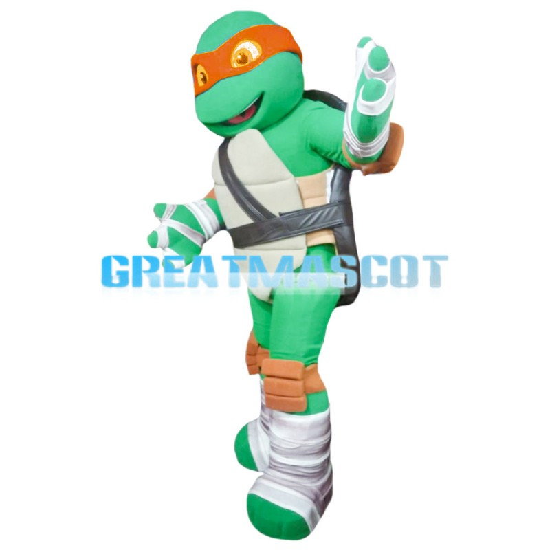 Teeange Ninja Turtle With Orange Blindfold Mascot Costume
