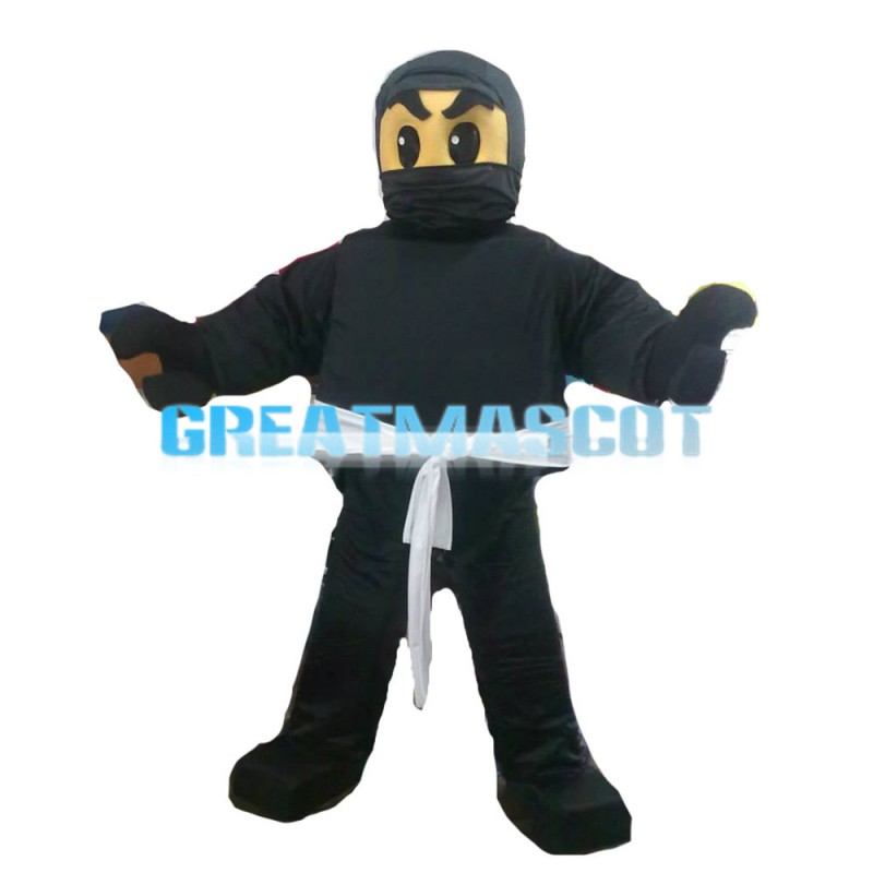 All Black Masked Samural Mascot Costume