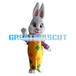 Well-behaved Rabbit With Yellow Flower Pants Mascot Costume