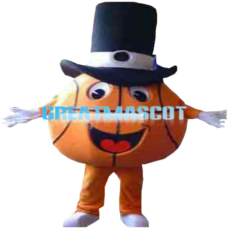 Sports Basketball With Bowler Hat Mascot Costume
