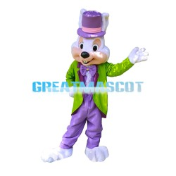 Gentleman Rabbit With Green Tuxedo Mascot Costume