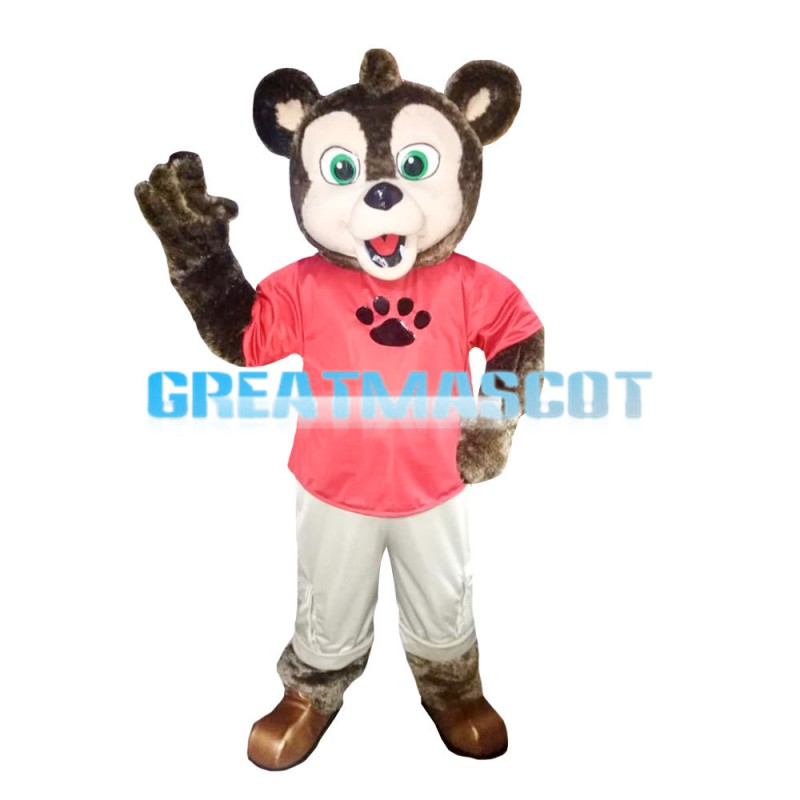 Green Eyes Dog In Pink Shirt Mascot Costume