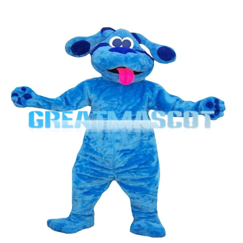 Blue Puppy Sticking Out Tongue Mascot Costume