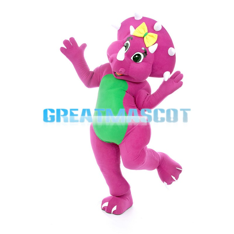 Rose Red Triceratops With Yellow Bow Mascot Costume