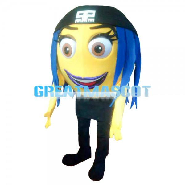 Yellow Ball With Blue Hair Mascot Costume