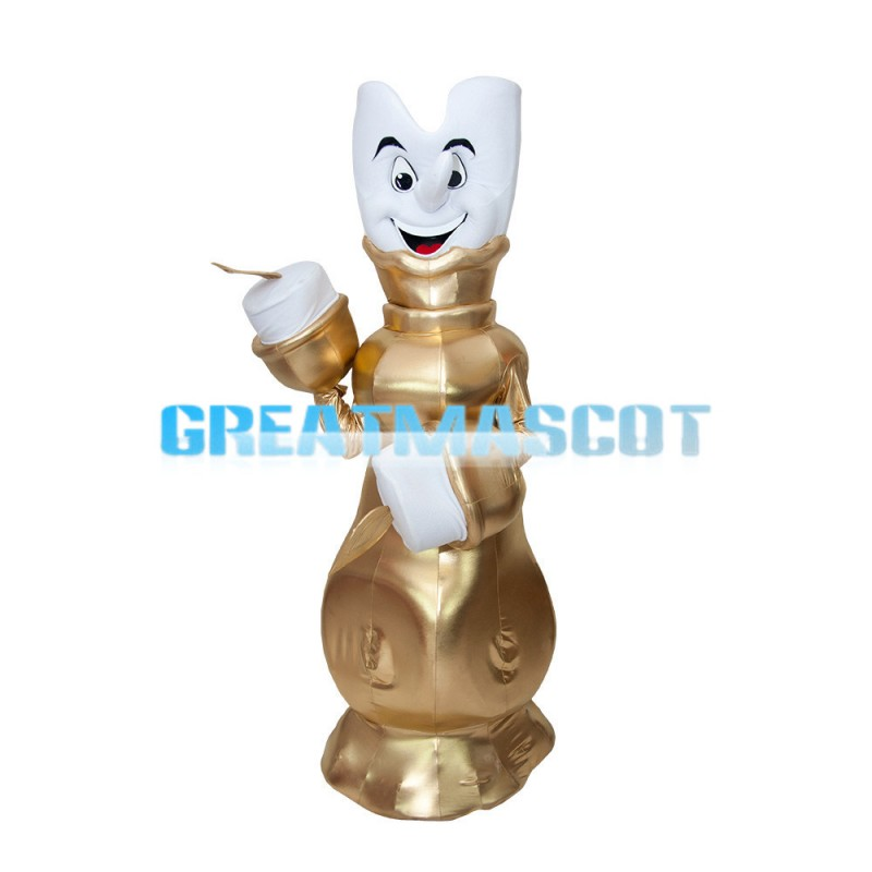 White Candle On Golden Candlestick Mascot Costume