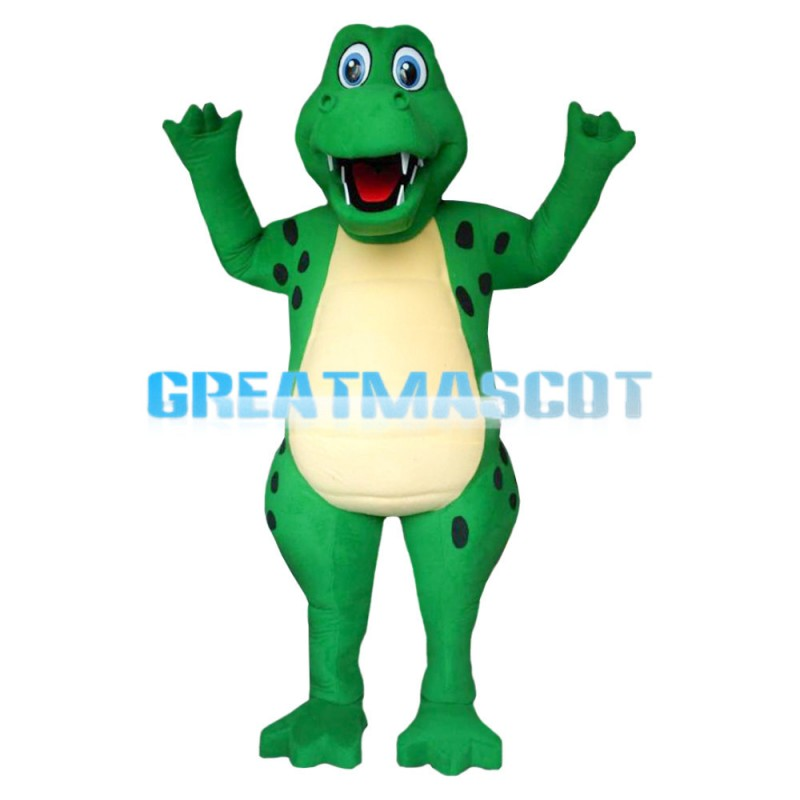 Blue Eyes Green Cartoon Dinosaur Mascot Costume