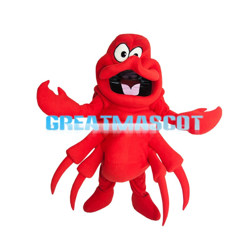Red Big Lobster Holding Pliers Mascot Costume