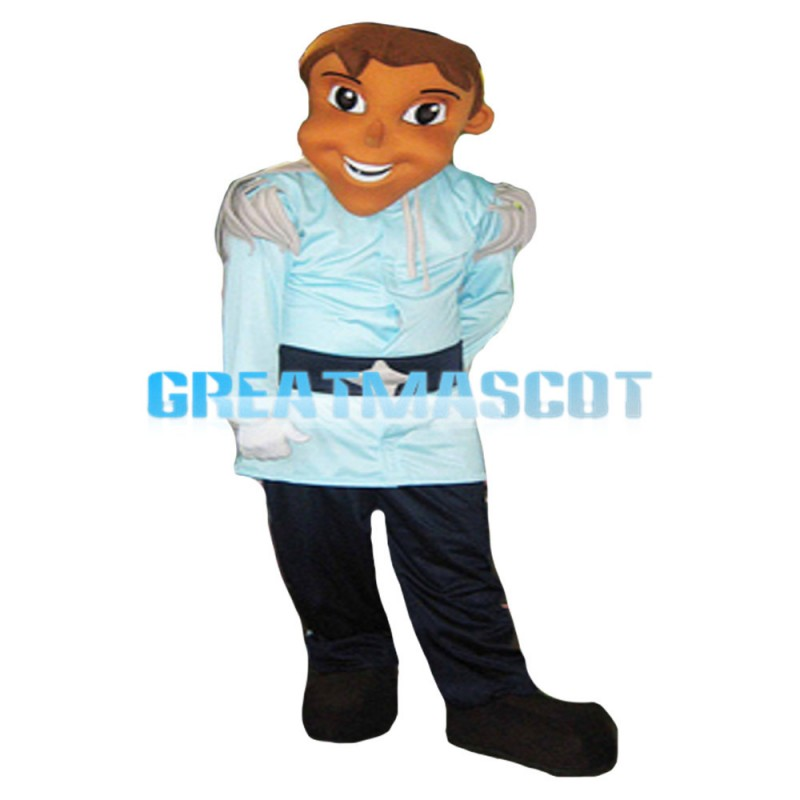 Tall Handsome Prince With Blue Set Mascot Costume