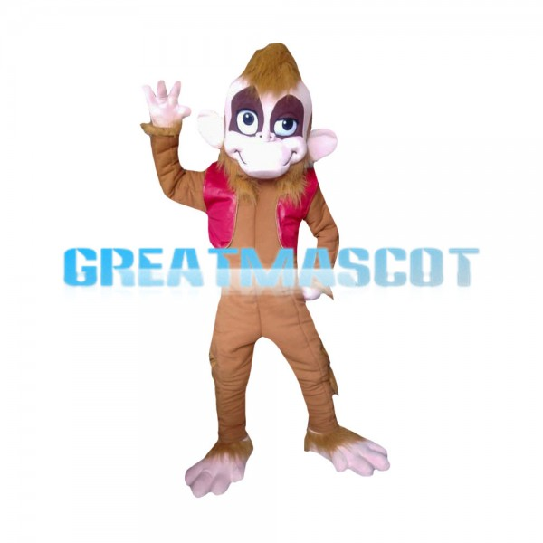 Funny Style Monkey In Red Vest Mascot Costume