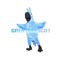 Blue Furry Bird With Black Beak Mascot Costume
