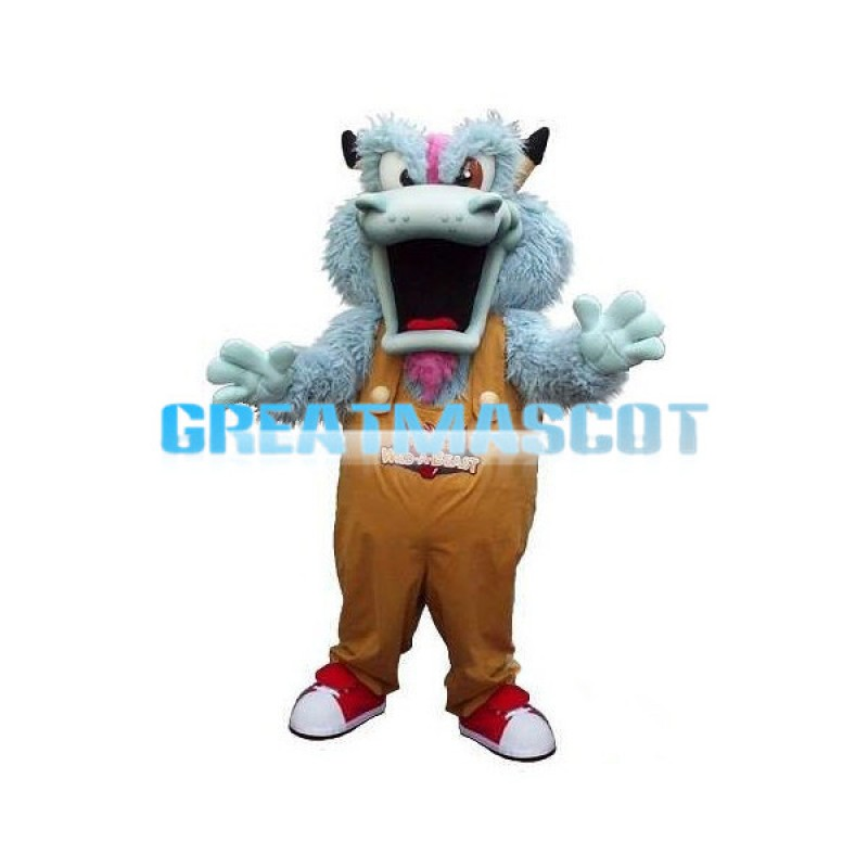 Light Blue Dragon With Brown Rompers Mascot Costume