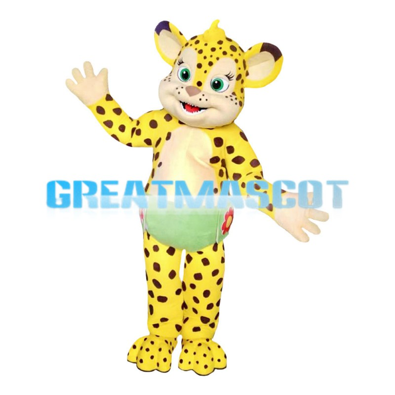 Adult Size Little Yellow Leopard Mascot Costume