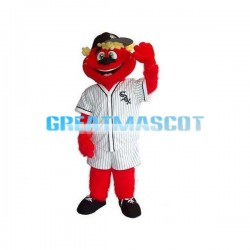 Smiling Red Bear With Jersey Mascot Costume
