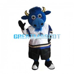 Blue Bull With Golden Horn Mascot Costume