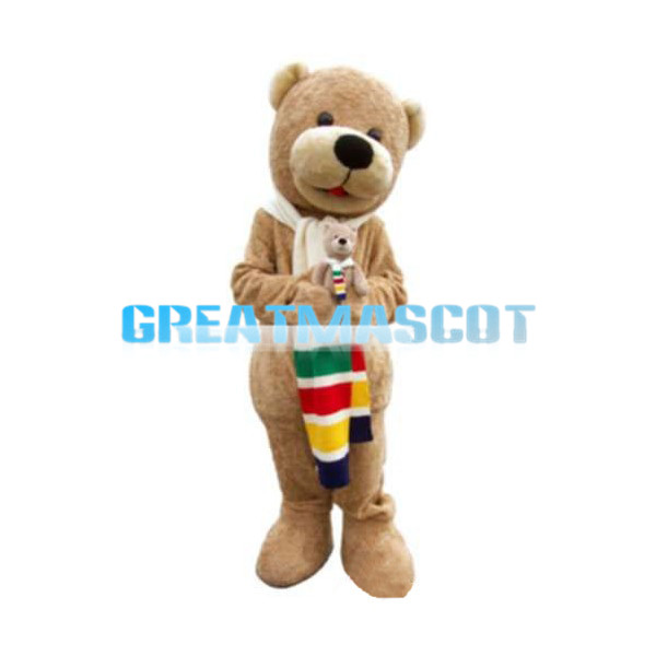 So Lovely Brown Bear With Scarf Mascot Costume