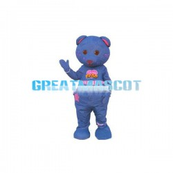 Denim Blue Printed Bear Mascot Costume
