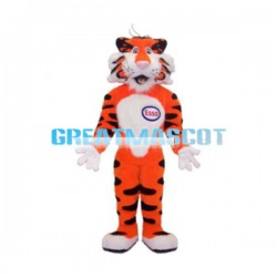 Orange Tiger With Number Plate Mascot Costume