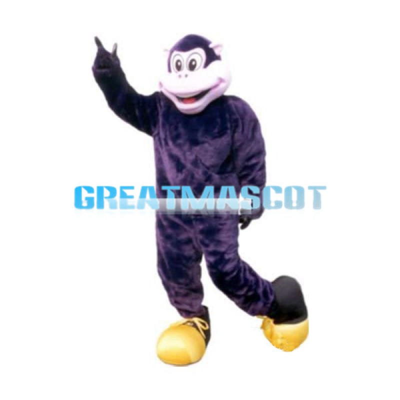 Big Mouth Monkey With Gold Shoes Mascot Costume