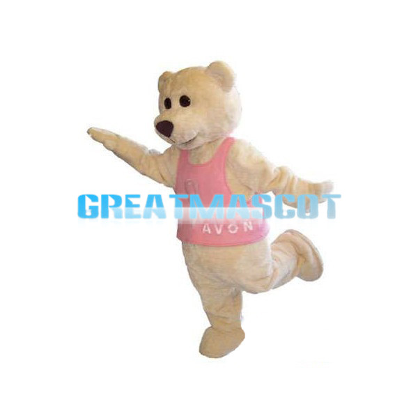 Beige Bear With Pink Vest Mascot Costume