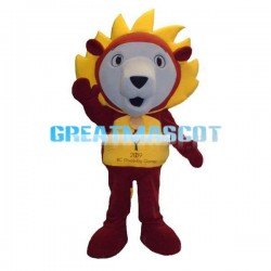 Stunned Little Lion With Yellow Mane Mascot Costume