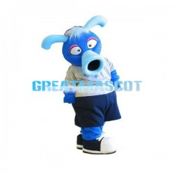 Strange Blue Monster With Flared Mouth Mascot Costume
