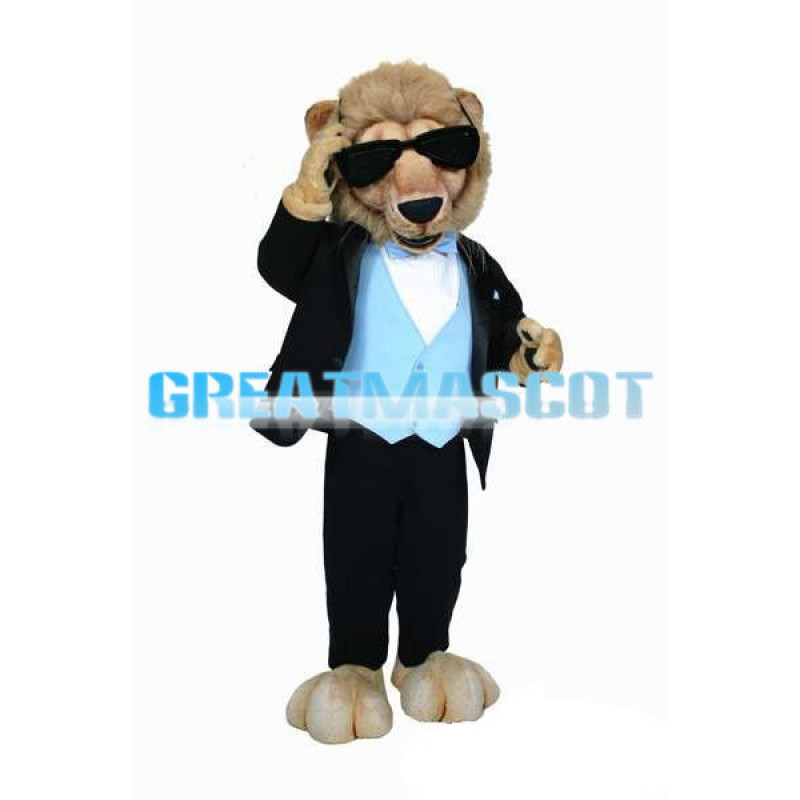 Handsome Cool Lion With Sunglasses Mascot Costume