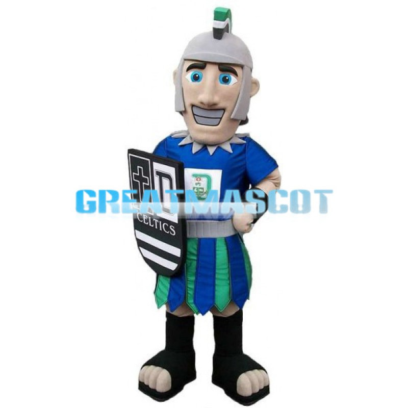 Blue Soldier Holding A Shield Mascot Costume