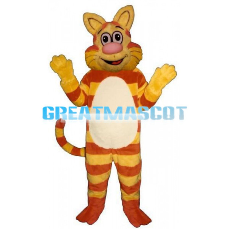 Yellow & Orange Striped Cat Mascot Costume