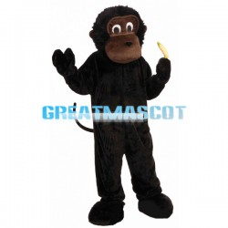 Smart Chimpanzee Holding Banana Mascot Costume