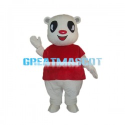 Red Nose Big Eyes White Bear Mascot Costume