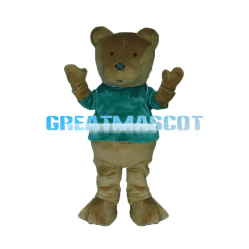 Greeting Bear With Green Shirt Mascot Costume