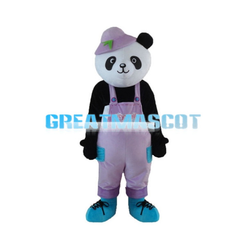 Lively Panda With Pink Pants Mascot Costume