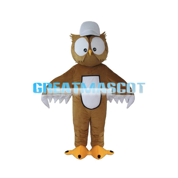 Brown Owl With White Peaked Cap Mascot Costume