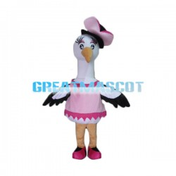 Beautiful Bird With Pink Hat Mascot Costume