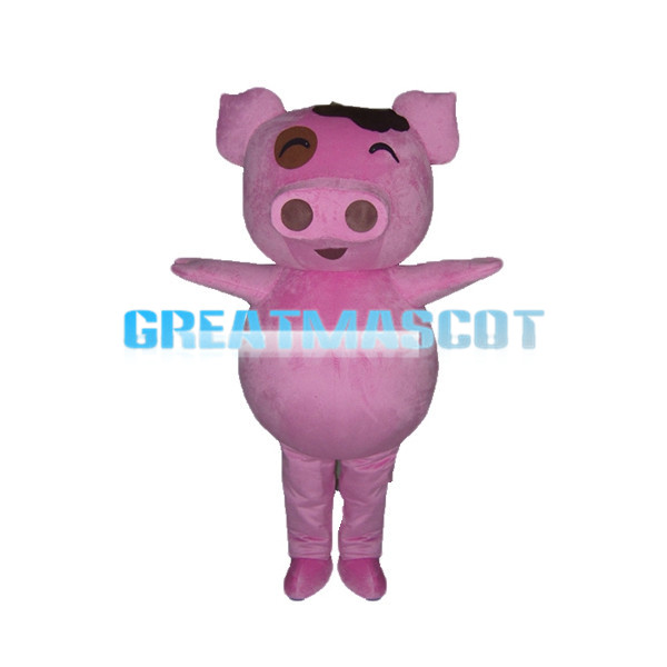 Pink Pig With Large Nostrils Mascot Costume