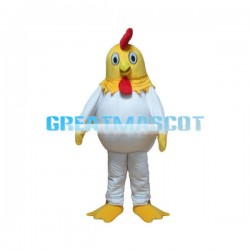 White Chicken With Yellow Head Mascot Costume