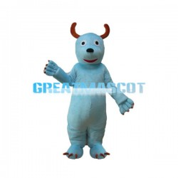 Sky Blue Monster With Horn Mascot Costume