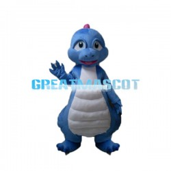 Blue Dinosaur Baby With White Belly Mascot Costume
