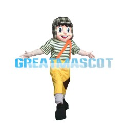 Lively Little Boy With Flying Cap Mascot Costume