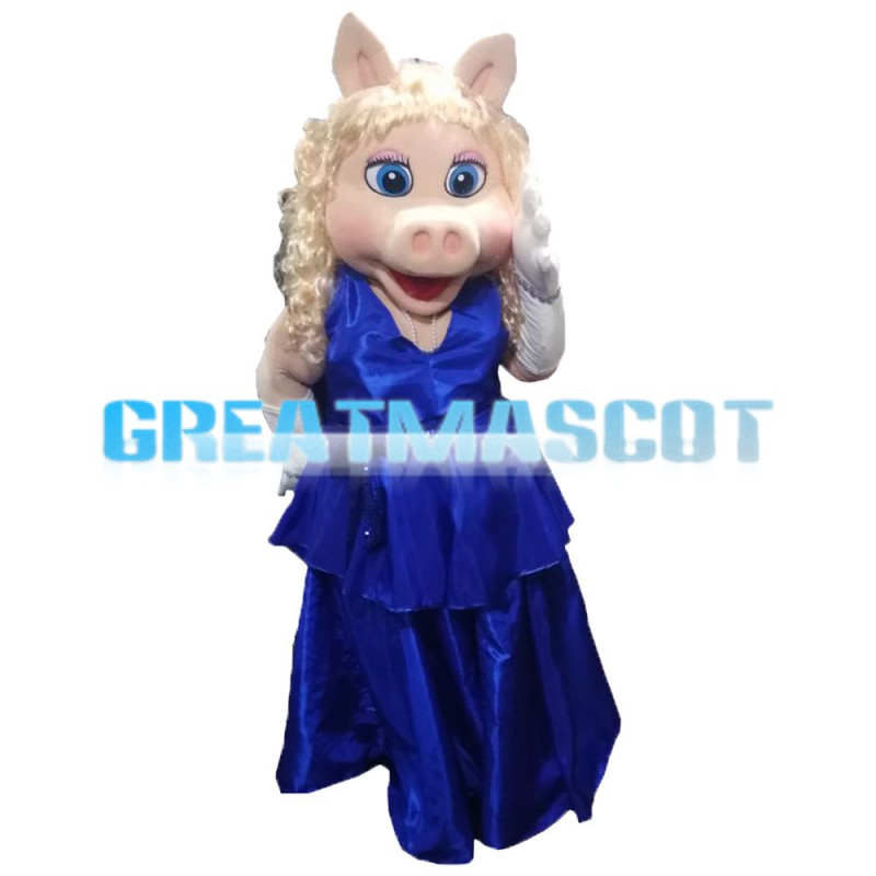 Silver Hair Pig Women With Blue Dress Mascot Costume