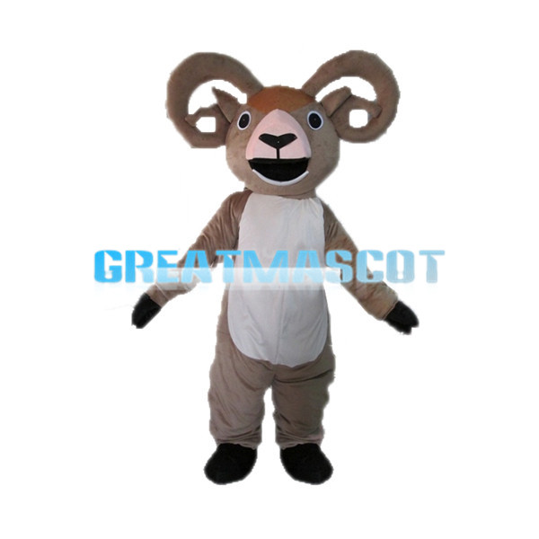 Opening Mouth Light Brown Goat Mascot Costume