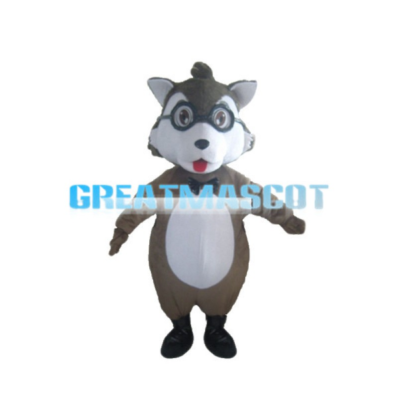 Studious Baby Wolf With Glasses Mascot Costume