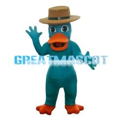 Dark Green Duck With Brown Hat Mascot Costume