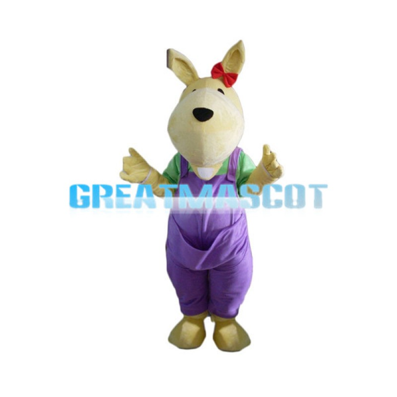 Little Dog With Purple Overalls Mascot Costume
