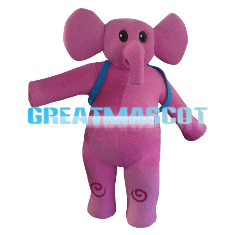 Pink Elephant Carrying Blue School Bag Mascot Costume
