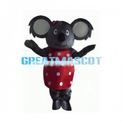 Koala In Red Polka Dot Dress Mascot Costume
