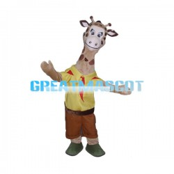 Student Giraffe With Red Sacrf Mascot Costume