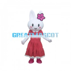 Beautiful Rabbit Wearing Pink Flower Mascot Costume
